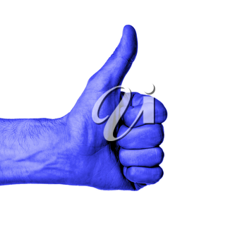 Closeup of male hand showing thumbs up sign against white background, blue skin