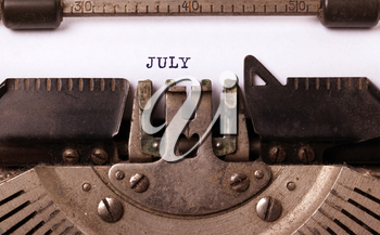 Vintage inscription made by old typewriter - July