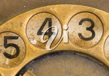 Close up of Vintage phone dial, dirty and scratched - 4