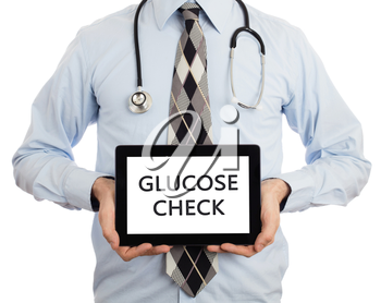 Doctor, isolated on white backgroun,  holding digital tablet - Glucose check