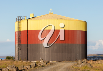 Colorful storage tank in the south of Iceland