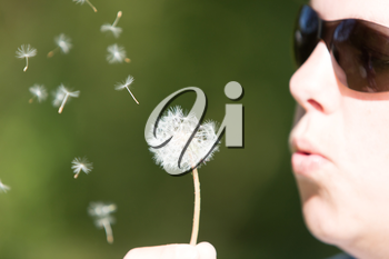 Young woman blowing to the dandelion, green grass as a background, selective focus