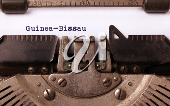 Inscription made by vinrage typewriter, country, Guinea-Bissau