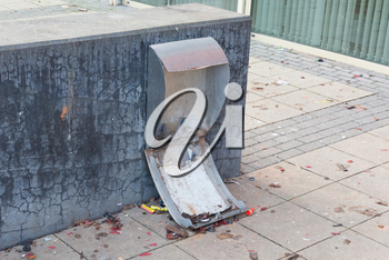Demolished bin in the Netherlands - Blown up by fireworks