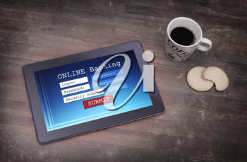 Online banking on a tablet - login, password and security code