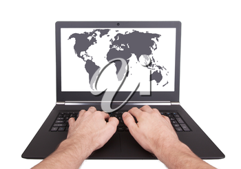Man working on laptop, world map, isolated