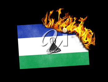 Flag burning - concept of war or crisis - Lesotho