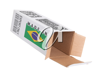 Concept of export, opened paper box - Product of Brazil