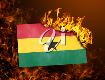 Flag burning - concept of war or crisis - Ghana