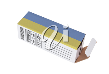 Concept of export, opened paper box - Product of the Netherlands
