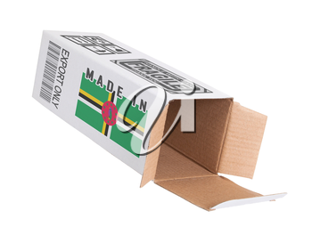 Concept of export, opened paper box - Product of Dominica