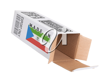 Concept of export, opened paper box - Product of Equatorial Guinea