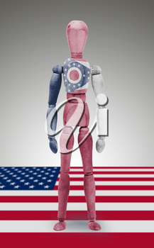 Old wood figure mannequin with US state flag bodypaint - Ohio