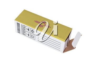 Concept of export, opened paper box - Product of New Mexico