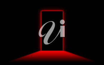 Black door with bright neonlight at the other side - Red