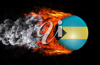 Concept of speed - Flag with a trail of fire and smoke - Bahamas