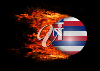 Concept of speed - US state flag with a trail of fire - Hawaii