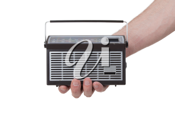 Small pocketradio, isolated on a white background