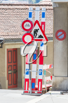 Road signs in a street under reconstruction, Switzerland