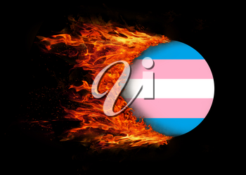 Concept of speed - Flag with a trail of fire - Trans Pride