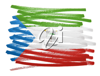 Flag illustration made with pen - Equatorial Guinea