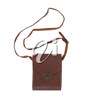 Old brown leather bag or case on a white background
