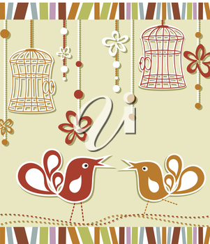 wedding invitation card with a bird cage and flowers