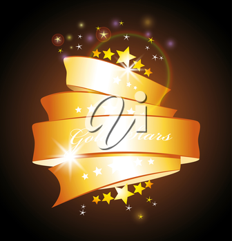 beautiful vector label sign with stars and gold ribbon