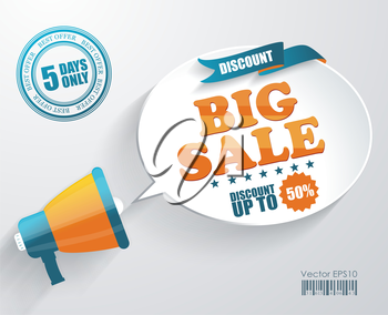 Vector icon of megaphone with bubble speech for Big Sale message, marketing concept