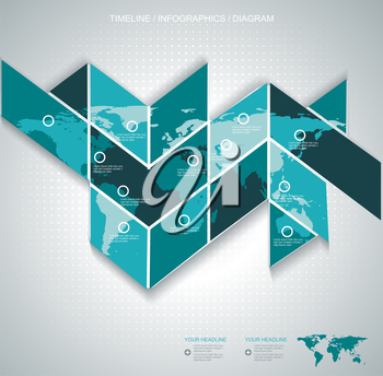 Vector World map on puzzle background - communication concept and infographics design template.