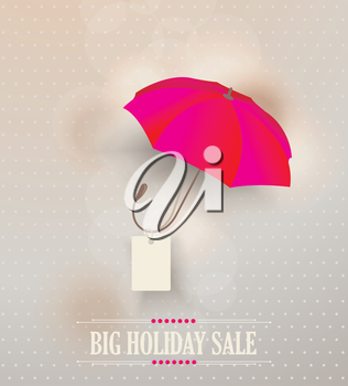 Sale poster with classic elegant opened red umbrella, vector illustration