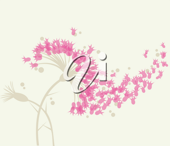 Abstract fluffy  flowers with fly petals. Vector illustration.