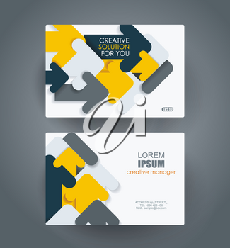 Business cards Design with abstract arrows composition. Vector Template layout.