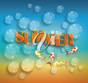 Summer design on sea background with water drops and exotic fish.