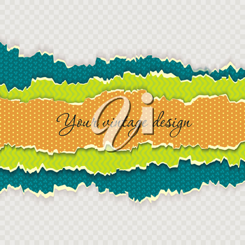 Color paper layers with different patterns and ripped edges, vintage design.