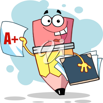 Clipart Illustration of Pencil Cartoon Character Student Gets an A+ on Test