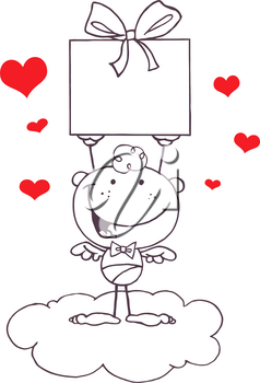 Black and White Cupid With Red Hearts Holding a Gift Box Clipart Illustration