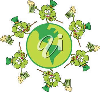 Clipart Illustration of Dancing Chamrocks With Beer Around the Globe