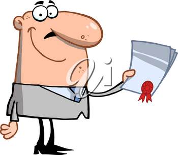 Clipart Image of A Smiling Man Holding an Award Letter