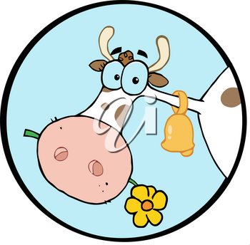Clipart Image of The Face of a Cow With a Flower In Its Mouth