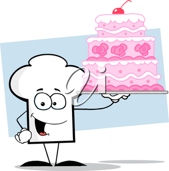 Clipart Image of A Happy Chef's Hat Holding a Large Pink Birthday Cake