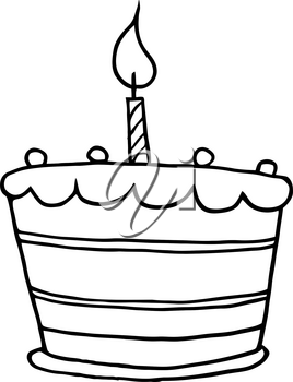 Clipart Image of Black and White Birthday Cake With a Single Candle