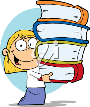 Clipart Image of A Smiling Blonde Girl With a Tall Stack of Books