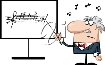 Clipart Image of A Music Professor Pointing To a Song Written on a Whiteboard