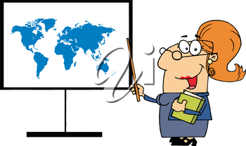 Clipart Image of A Geography Teacher Pointing To a Map