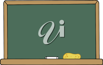 Clipart Image of A Piece of Chalk and an Eraser on the Tray of a Blackboard