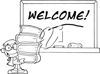 Clipart Image of Black and White Student Near a Chalkboard