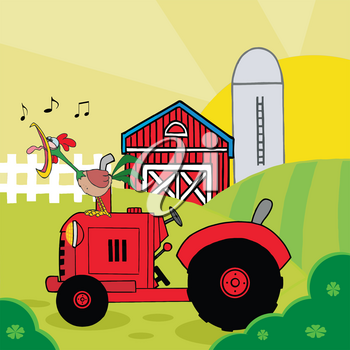 A Crowing Rooster on a Red Tractor As the Sun Rises on the Farm Clipart Image