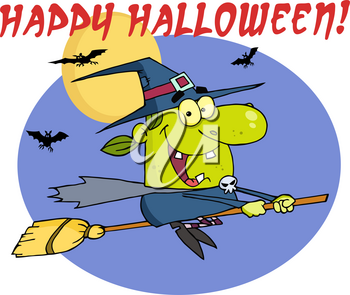 """Clipart Image of Bats and a Witch on a Broomstick Flying In Front of the Full Moon With """"Happy Halloween"""" Greeting Text"""