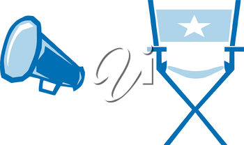 Clipart Image of A Director's Chair and a Bullhorn